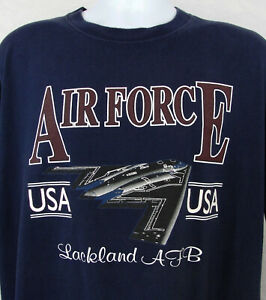 Vintage-Air-Force-T-Shirt-Navy-Blue-Mens-Size-XL-Lackland-AFB-Stealth-Bomber-USA