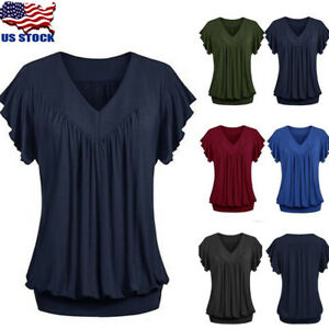 74dced74a2c Plus Size Womens V-Neck Summer Casual Loose Tops Short Sleeve Blouse ...