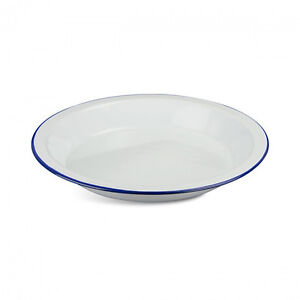 New Deluxe Enamel DEEP PLATE White Outdoor Living Camping Picnic Accessories
