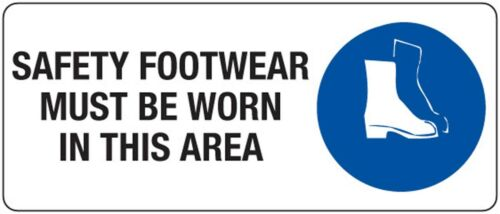 Safety Footwear  Must Be Worn In This Area  Safety Sign Placard Metal 450x200mm