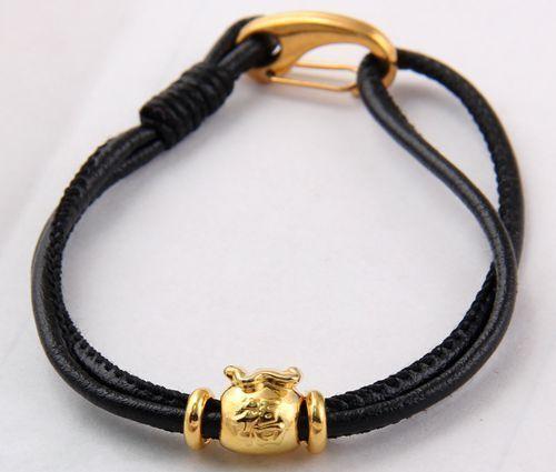 Shamballa Cuir Charme Bracelet homard fermoir Tibétain or Fukubukuro