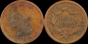 1842-Large-Cent-Coronet-Matron-Head-Old-US-Type-Coin-Copper-1800-039-s-Penny
