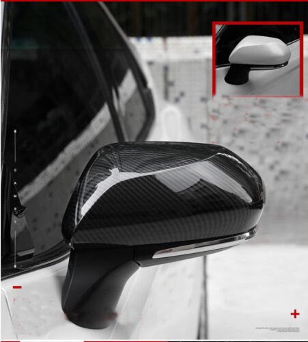 For 2018 TOYOTA CAMRY Carbon Fiber Side Door Rearview Mirror Cover Trim 2pcs