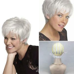 UK WIG Women Short Fluffy Charming Hair Silver White human hair Wigs ... daa71cbd290a
