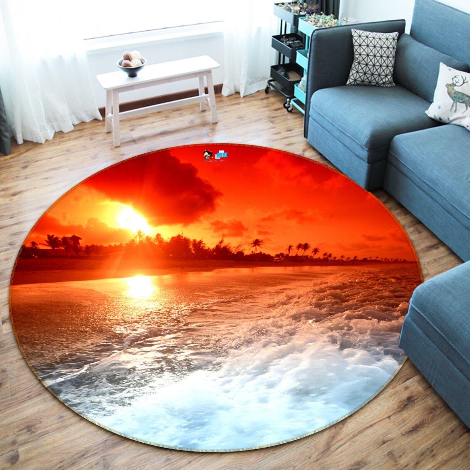 3D Sunset Vagues 0012 Étage Antidérapant Natte Rond Élégant Tapis FR Summer