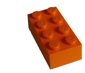 Lego-50-orange-Steine-2x4-Basicsteine-3001-Stein-Neu-bricks-brick