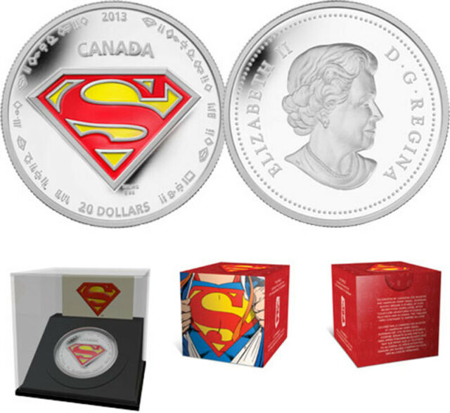 2013 'Superman Shield' Enameled Proof $20 Pure Silver .9999 Fine Coin(13290)OOAK
