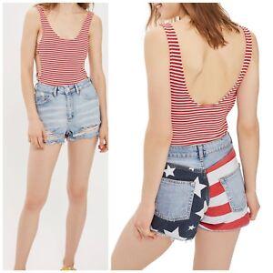 NWT-Topshop-MOTO-American-Flag-Splice-Mom-Shorts-Size-8
