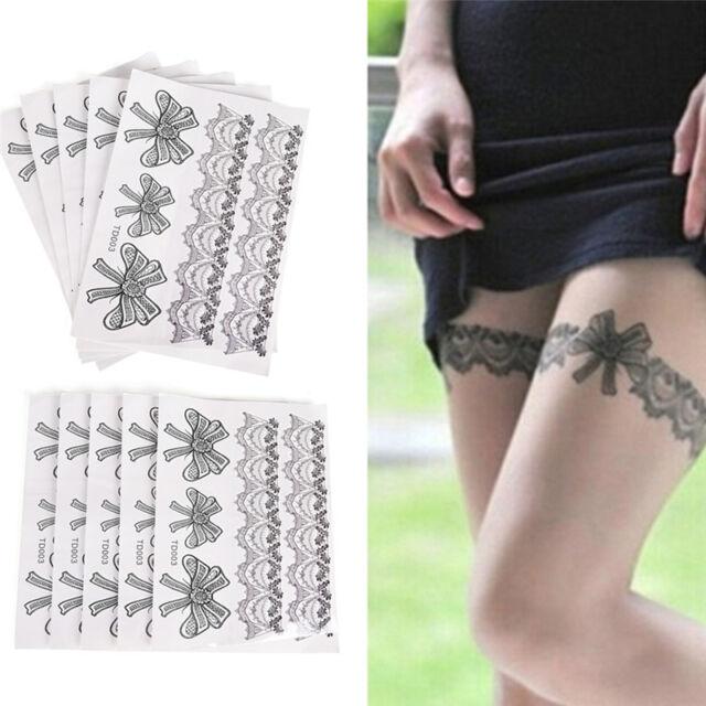Waterproof  Tattoo Temporary Sticker on Body Leg Transfer Lace Stocking Tattoo F