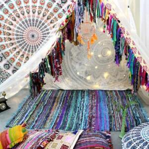 Indische-Tuerkis-Yogamatte-Teppich-Handgewebter-Baumwollteppich-aus-100-Bunte