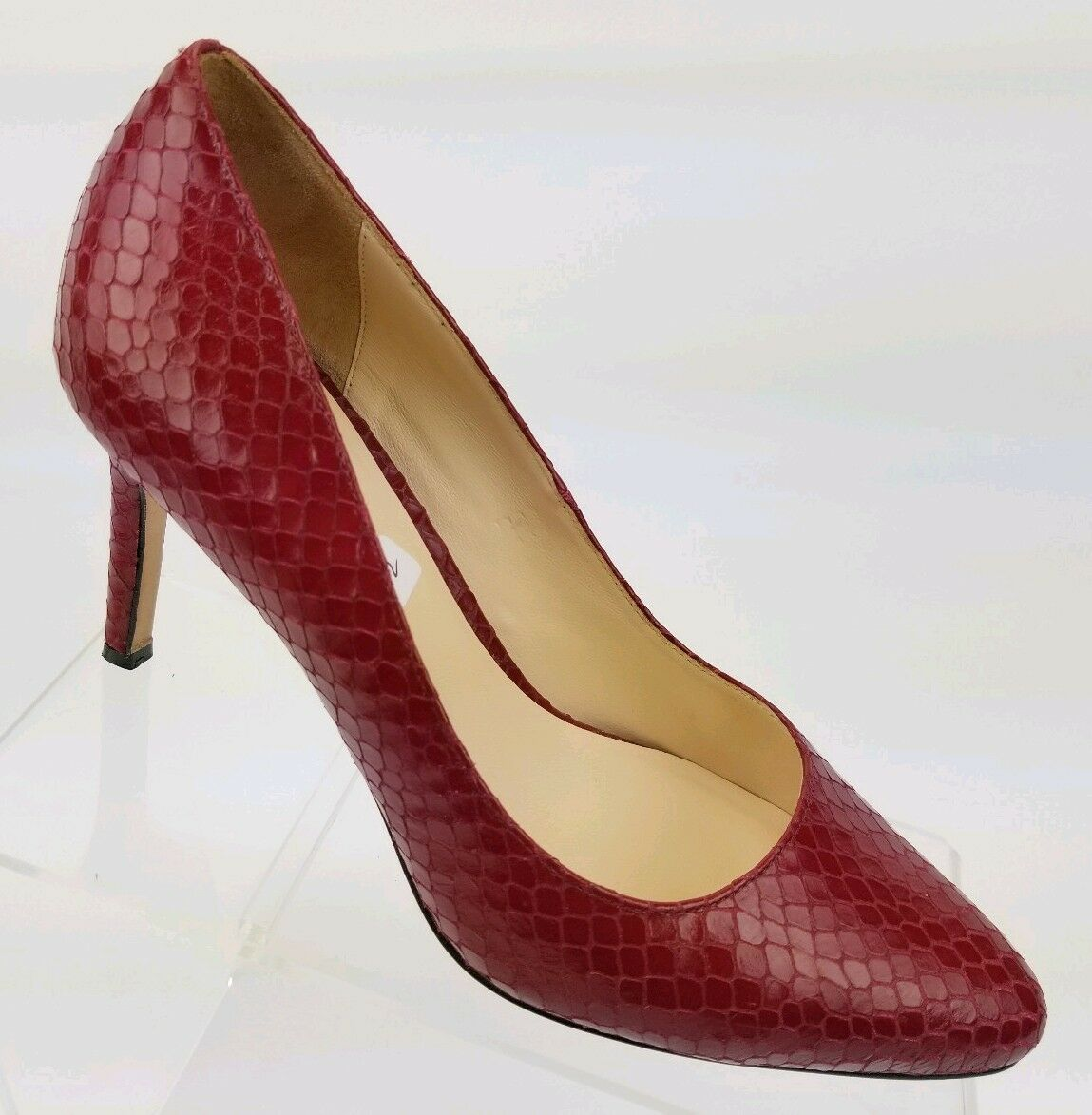 COLE HAAN Bethany Grand OS Women's Pumps Red Snakeskin Embossed Heels Sz 8B