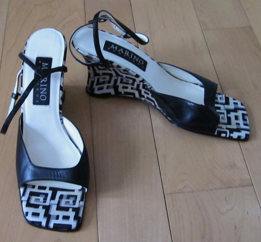 Marino Leather Boutique Wms Bk /Wht Leather Marino /Fabric Sandals 8.5 5bb593