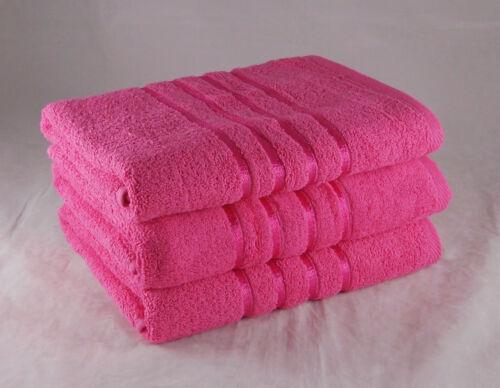 Luxe Serviettes Rayures Rose Fuchsia 550 Gsm 100/% Coton Pack De 6