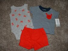 NWT $28 Carters Infant Boys 2-Piece Shortalls Outfits Overall Shorts NB-24 Mo.