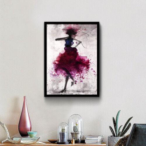 Watercolor Dancing Girl Minimalism Canvas Poster Room Wall Art Decoration