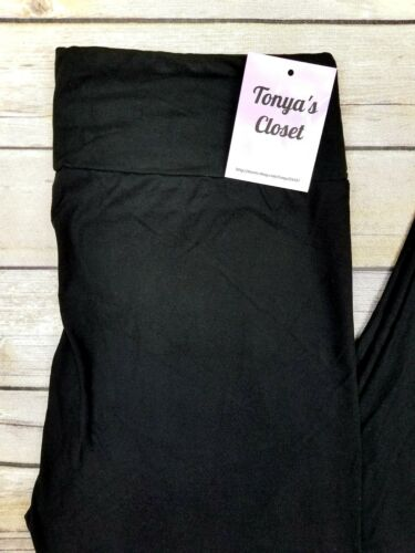 PLUS Size Solid Black Buttery Soft Leggings YOGA waist Curvy 10-18 TC