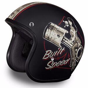 Built for Speed Daytona 3/4 Motorcycle Helmet FREE SHIP! Harley Style