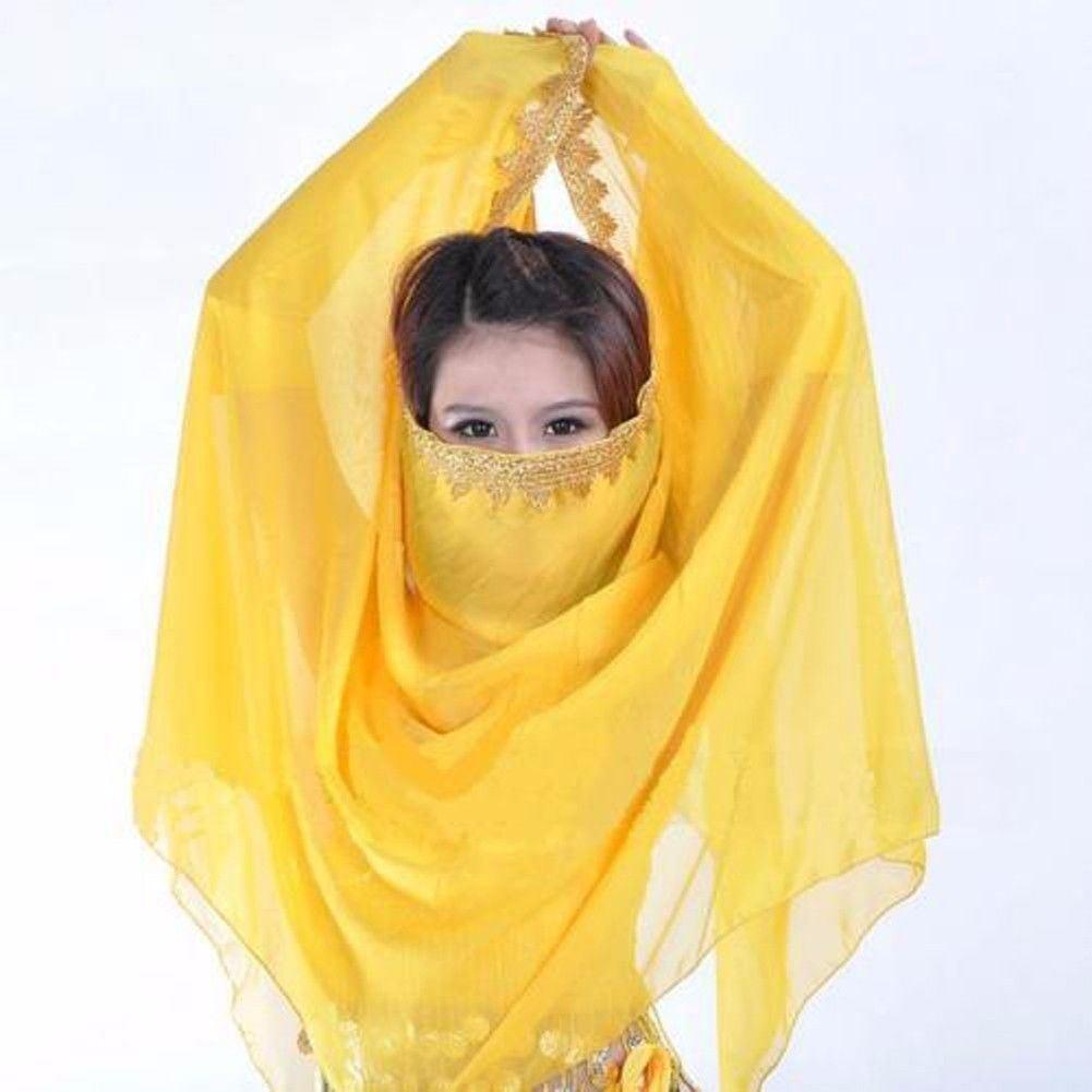 Veil Dance Belly Chiffon Shawl Scarf Gold Trim Bollywood Costumes 20 Color C21