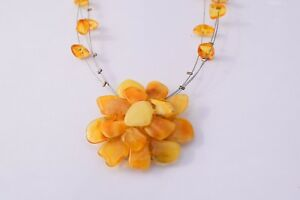 Detailed-Unique-Natural-Baltic-Amber-Necklace-Silver-Honey-Color-Beads-Flower