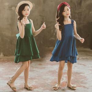 Teen-Kids-Baby-Girls-Summer-Sleeveless-Gallus-Lace-Falbala-Tiered-Princess-Dress