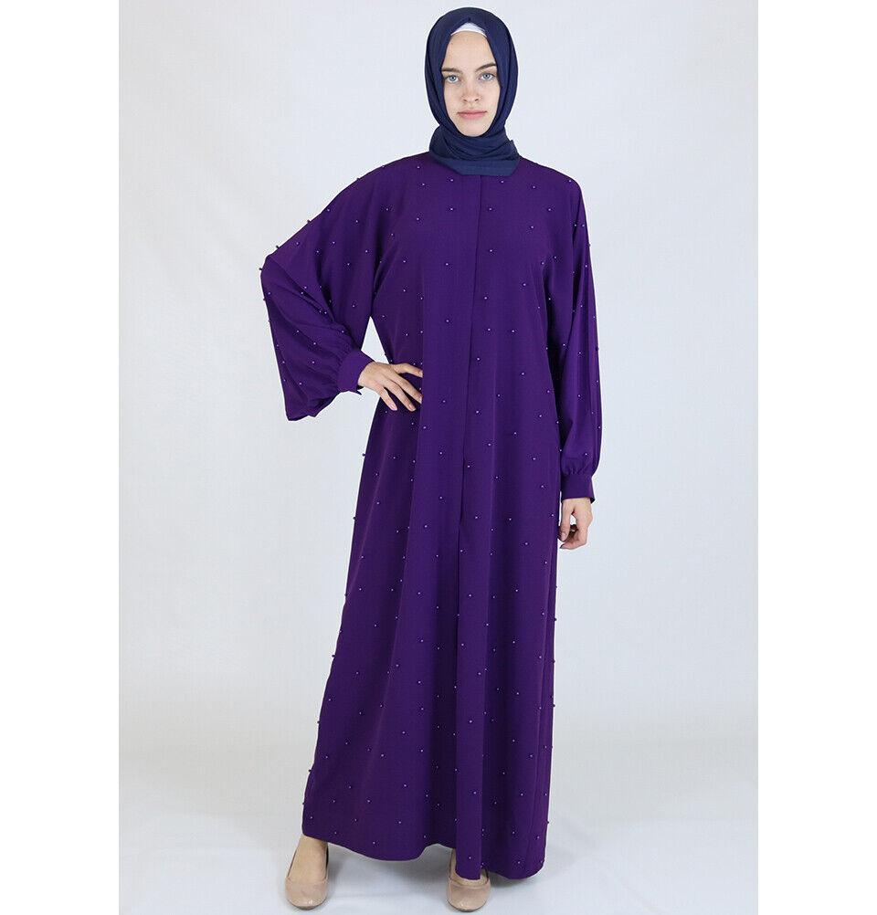 """Islamic Turkish Woherrar Long Sileve Simple Beaded Ferace Abaya Dress "" lila"
