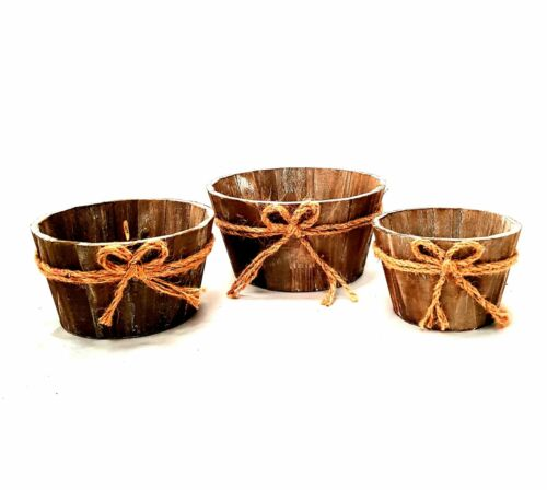 Set of 3 Rustic Brown Wooden Planter Display Fruit Boxes//Storage Box Home Decor