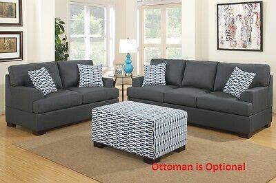 Blended Linen 2 Pc Sectional Set Sofa & Loveseat In Slate Black Living Room