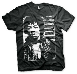 Jimi-Hendrix-Distressed-Rock-And-Roll-James-Marshall-Maenner-Men-T-Shirt-Schwarz