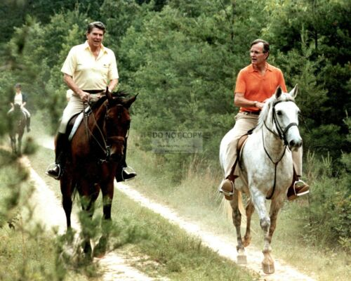 8X10 PHOTO BUSH ON HORSES AT CAMP DAVID RONALD REAGAN /& GEORGE H.W EE-052