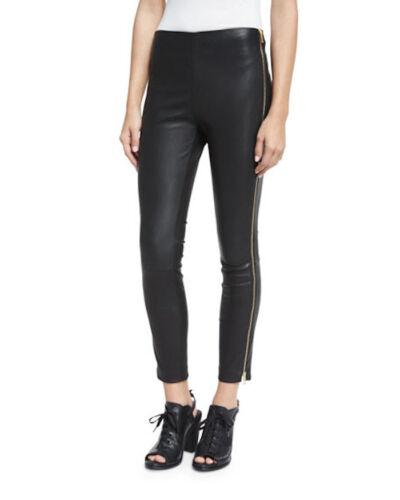 Rag /& Bone Jean Chatel Black Side Zip Leather Crop Pants Legging Sz 4 $395 NWT