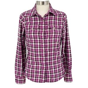 The North Face Flannel Plaid Button Up Hiking Shirt Pearl Snaps Women's Size: S