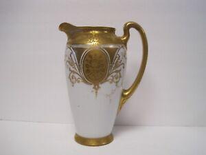 VINTAGE-H-amp-C-SELB-BAVARIA-GERMANY-COFFEE-POT-VASE-PITCHER-GOLD-WHITE-8-5-034-TALL