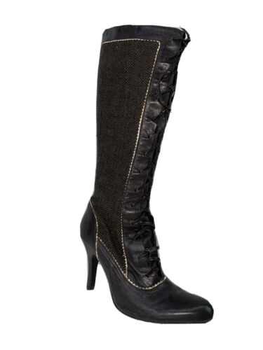CHARLES DAVID Leather Zip / Lace Up Boot Knee High