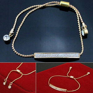 Gold-Silver-Plated-Crystal-Pave-Bar-Slider-Bracelet-Adjustable-Drawstring-Bangle