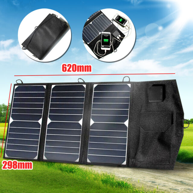 21W 5V Foldable Dual USB Solar Panel Mobile Phone Battery Power Charger Camping