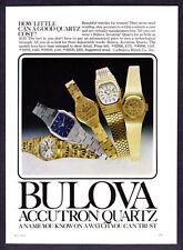 "1978 Bulova Accutron Quartz Women's 4 Watch photo ""Cost Little"" promo print ad"