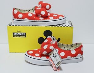 Vans X Disney Authentic Gore Minnie s Bow Red White Women s Size  6 ... 3ca36c6fb