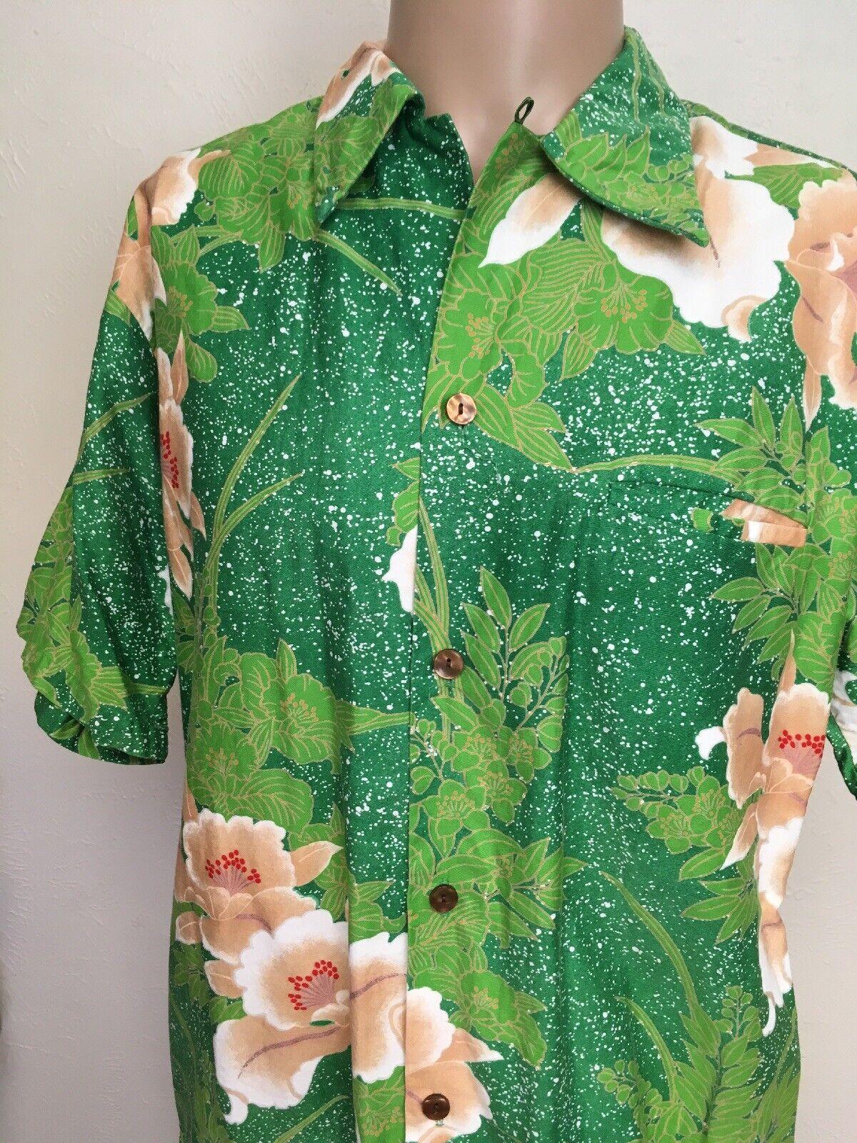 VTG 70s HIS ROYAL HIGHNESS HAWAIIAN SHIRT Green Splatter Floral LOOP COLLAR L