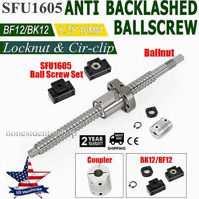 6.35x10mm Coupler Set Antibacklash Ball Screw SFU1605 L200mm-750mm /& BK12 BF12