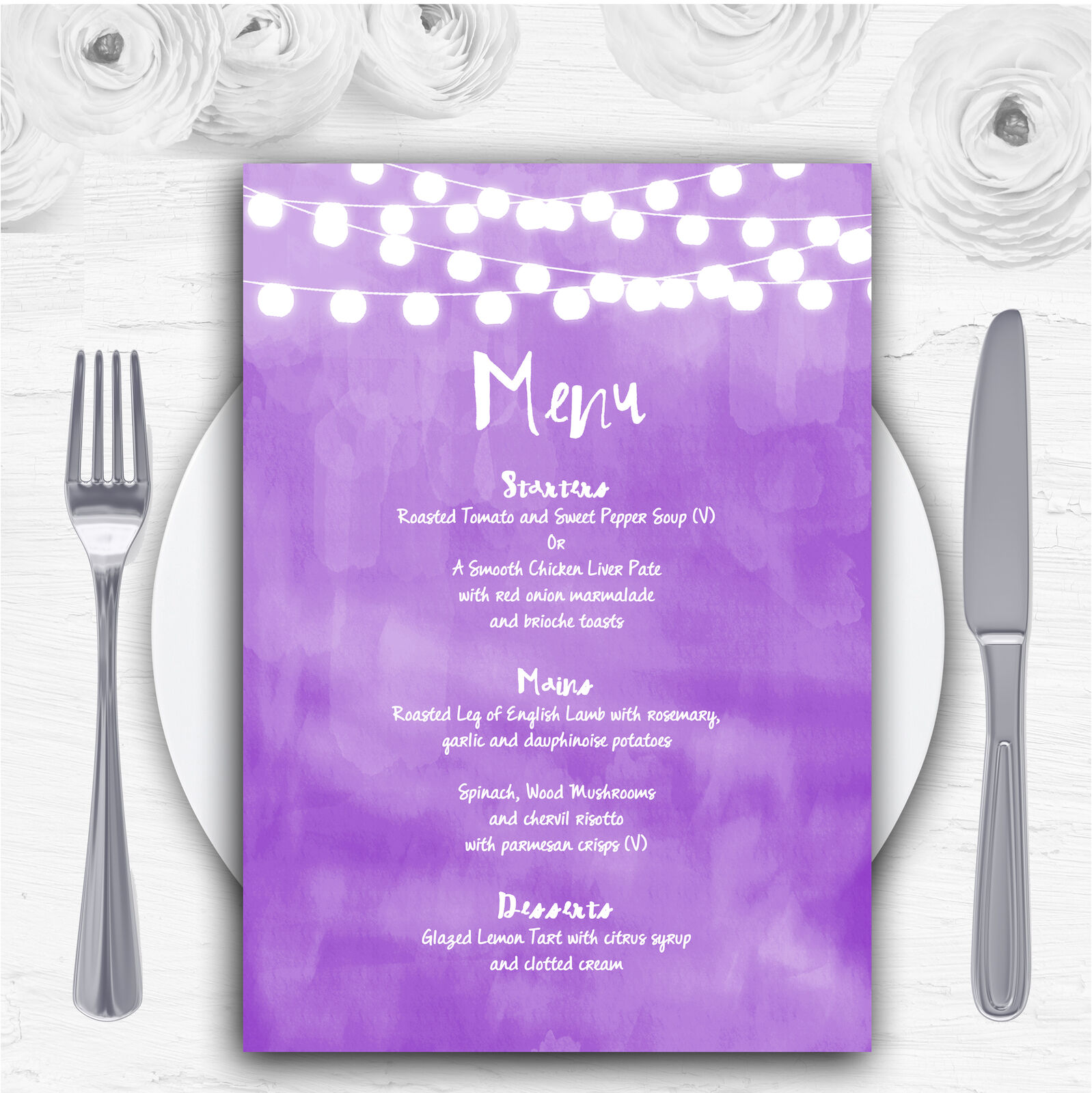 lila and Lights Watercolour Personalised Wedding Menu Cards