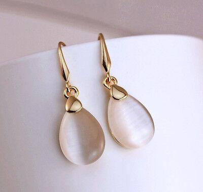 1 Pair Noble Korea Waterdrop Beige Opal 18K Gold Plated Lady Hook Earrings