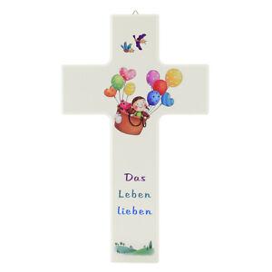 Details zu Kinderkreuz Kreuz aus Holz weiß für Kinder Das Leben lieben Kind  Luftballons