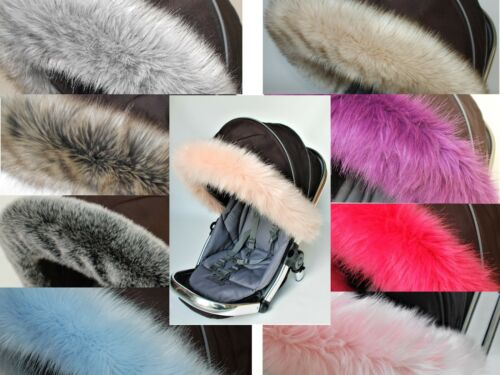 Pushchair pram Hood fur trim fit all models My babiie pink white luxury fur