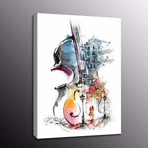 Giclee Canvas Prints Painting Picture Wall Art Watercolor violin Home Decor