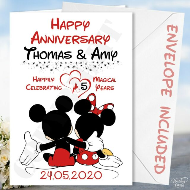 Personalised Minnie Mickey Mouse Card Anniversary Wedding Birthday Husband Wife