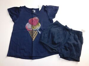 NWT-Gap-Toddler-Girl-039-s-2-Pc-Outfit-Top-Bubble-Shorts-Navy-Blue-4-Yr-New-MSRP-30