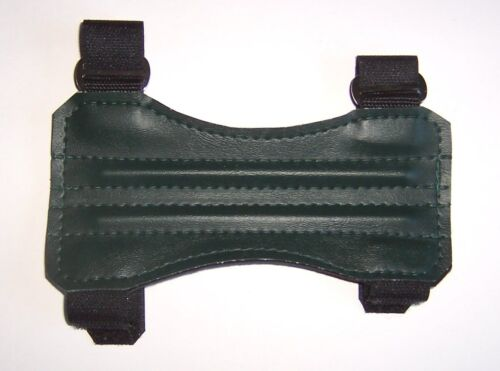 "ARCHERY ARM GUARD. 7"" DARK GREEN TWO STRAP VINYL GUARD BY ARROWHEAD"