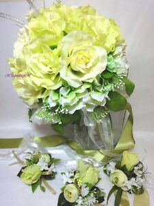 4pcs wedding bridal bouquet set decoration package lime green rose image is loading 4pcs wedding bridal bouquet set decoration package lime mightylinksfo
