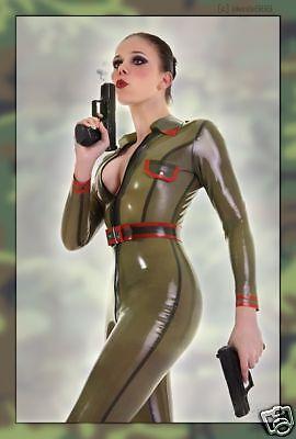 Latex Military Battle Dress Uniform Catsuit gananzug Overalls