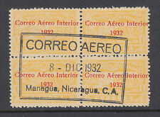 Nicaragua Sc C39 used 1939 1cor Post Office w/ Correo Aereo Interior ovpt, Block